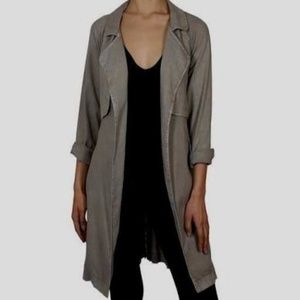NWOT Cloth & Stone Drapey Trench Warm Gray Sz L